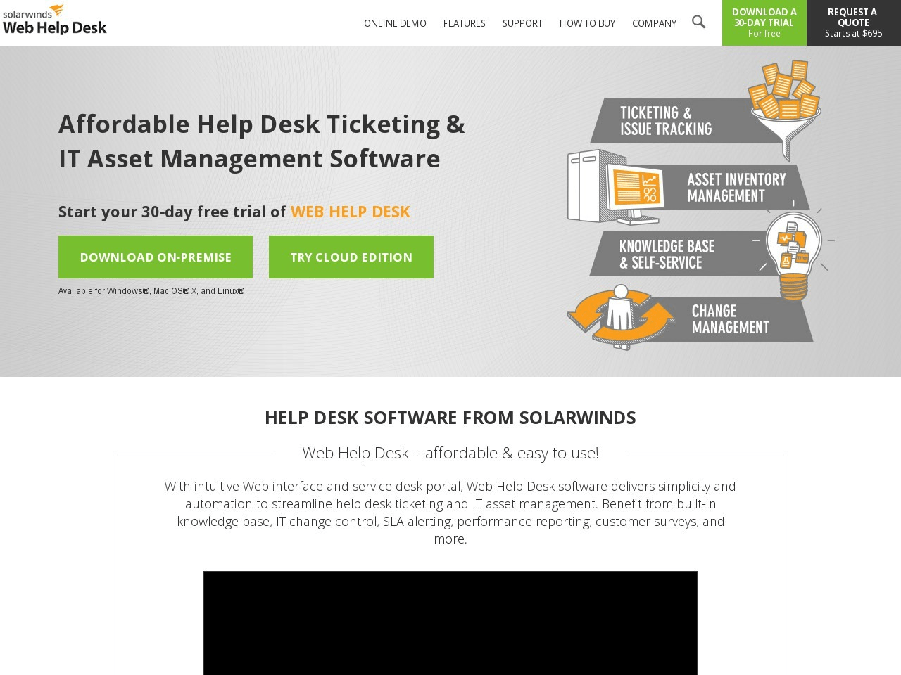 Solarwinds Web Help Desk Screenshot